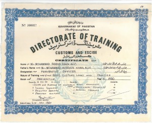 CERTIFICATE  OF TRAINING FROM DIRECTORATE OF TRAINING CUSTOMS AND EXCISE , KRACHI 6th nov 1990