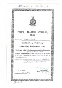 POLICE TRAING COLLEGE SIHALA  CERTIFICATE  OF PROFICIEVCY SEP 1977